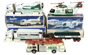Toy trucks (5), Hess fire, tanker, helicopter carrier