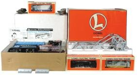Toy train cars/bridge/set (5), Lionel O27 Gauge flat
