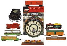 Toy train cars/clock (10), Lionel, 100th Anniv. clock,