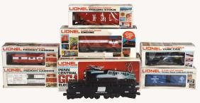 Toy train cars/engines w/boxes (7), Lionel 027 Gauge