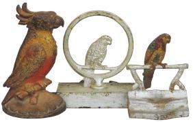 Doorstops (3), all cast iron parrots, 2 w/orig paint,