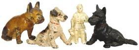 Doorstops & cast iron dogs (4), Scotty, Terrier,