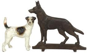 Doorstops (2), cast iron Terrier w/orig paint & German