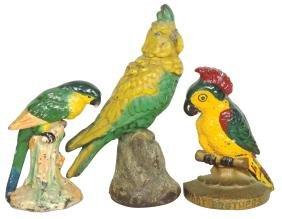 Doorstops (3), cast iron parrot & cockatoos, 1 marked