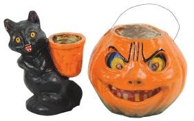 Halloween candy containers (2), paper-mache cat &