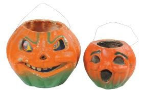 Halloween candy containers (2), paper-mache pumpkins,