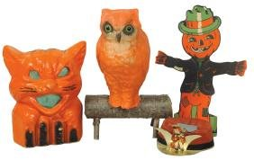 Halloween items (4), paper-mache cat candy container,
