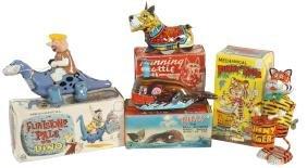 Toys w/boxes (4), Marx Flintstone Pals on Dino; Marx