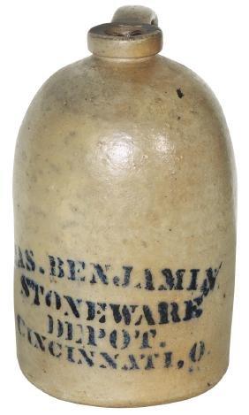 Stoneware advertising jug, Jas. Benjamin Stoneware