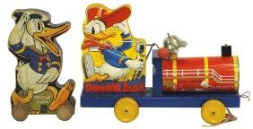 Toys (2), Fisher-Price Donald Duck Choo-Choo #450, Exc