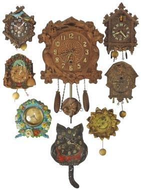 Clocks (8), Keebler & Lux wall clocks w/birds, dog, cat
