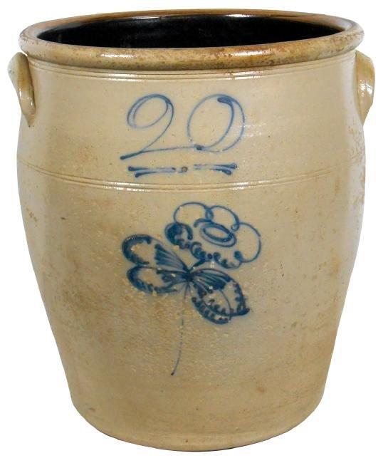 Stoneware crock, 20 gal salt glaze w/butterfly, ovoid