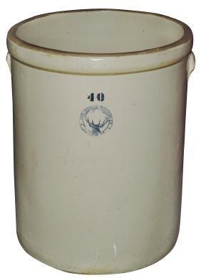 Stoneware crock, Buckeye Pottery Co.-Macomb, IL 40 gal,
