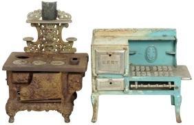 Children's cast iron stoves (2), Eagle & Kent, Eagle