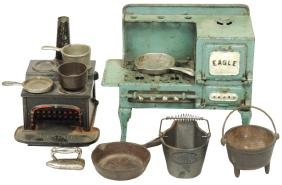 Toy cast iron stoves & cookware (10 pcs), Bay State &