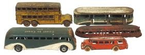 Toy buses & Railplane (5), Arcade Greyhound Lines New