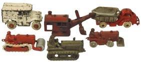 Toy construction & milk trucks (6), Hubley Caterpillar