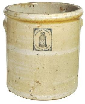 Stoneware crock, Monmouth Pottery, Two Men in a Tub, 10