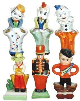 Children's toothbrush holders (6), painted ceramic