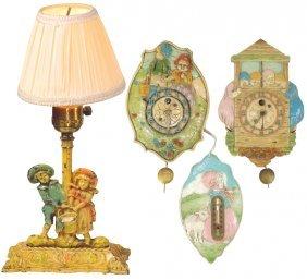 Children's clocks, lamp & thermometer (4), Jack & Jill