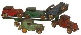 Toy car transport & cars (4), A.C. Williams transport