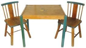 Children's table & chairs (3), Snow White & 7 Dwarfs