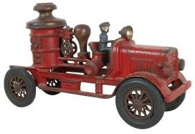 Toy fire pumper, Hubley, cast iron w/driver, marked