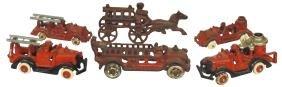 Toy fire trucks (6), 3 ladder trucks, 2 tanker trucks &
