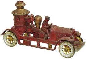 Toy fire pumper, Kenton, cast iron w/integral driver,