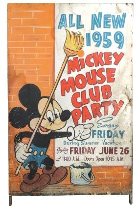 Mickey Mouse sign, 1959 Mickey Mouse Club Party,
