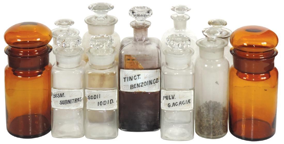 Drug store apothecary jars (11), 2 dark amber jars