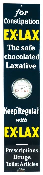 Drug store thermometer, Ex-Lax, porcelain, unusual