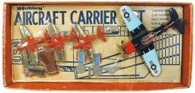 Toy aircraft carrier set, Hubley, (3) red orange jets,