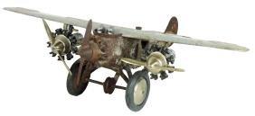 "Toy airplane, Hubley ""America"", tri-motor w/pilots,"