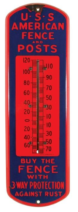 Advertising thermometer, U.S. American Fence and Posts,
