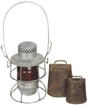 Railroad lantern & cowbells (3), Pennsylvania Railroad