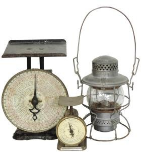 Railroad lantern & scales (3), A.T. & S.F. RY marked on