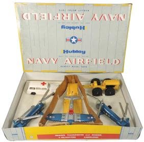 Toy Navy airfield set, Hubley No. 80 set w/orig box,