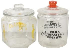Country store peanut jars (2), 6-sided Planters jar