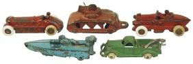 """Toys (5), Hubley """"Baby"""" outboard motor boat, c.1930's;"""