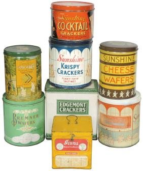 Country store cracker & wafer tins (8), Sunshine,