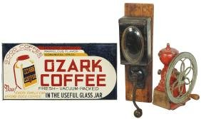 Country store sign & coffee grinders (3), Ozark Coffee,