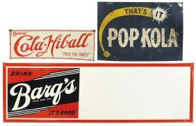 Soda fountain signs (3), Barq's, embossed self-framed