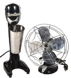 Soda fountain malt machine & electric fan (2), Hamilton