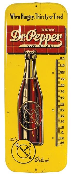 Soda fountain thermometer, Dr. Pepper, metal w/bottle
