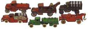 Toy trucks (6), most Hubley & Arcade, (2) tow/wreckers,