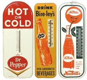 Soda fountain thermometers (3), Dr Pepper, Nesbitt's &