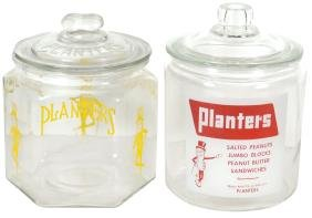 Country store peanut jars (2), both Planters, 6-sided