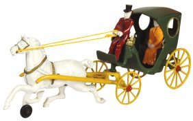 Toy carriage, Kenton hansom cab w/driver & passenger,