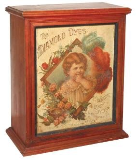 """Country store Diamond Dyes cabinet, birch w/""""Baby"""""""